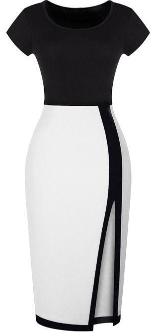 Split Slim Black and White Dress