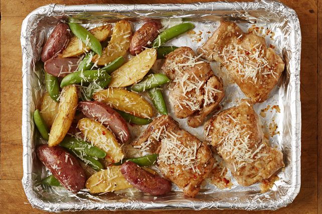 Chicken, fingerling potatoes and snap peas are cooked together on one pan - this recipe is quick, simple and easy to clean up!