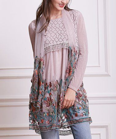 03cd78b0fab Loving this Pink Floral Embroidery-Accent Layered Tunic Dress & Scarf on  #zulily! #zulilyfinds