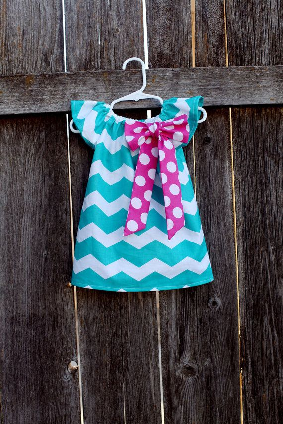 Turquoise Chevron Pink Polka Dot Bow Peasant Dress - Baby Girl. $27.50, via Etsy.