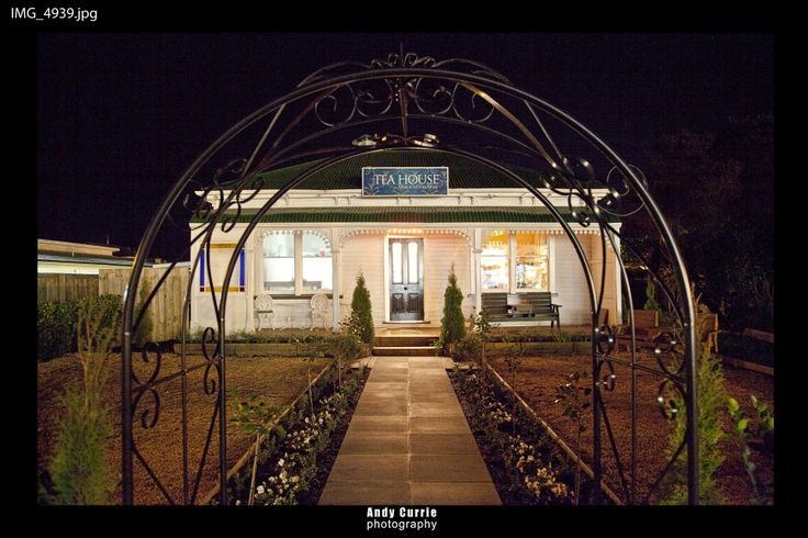 The Tea House at night - street frontage