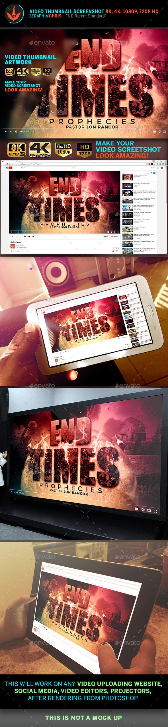Photoshop poster design youtube - End Time Prophecies Youtube Thumbnail Screenshot Template