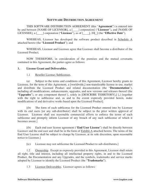 Distribution Agreement Template Free Download Distributor
