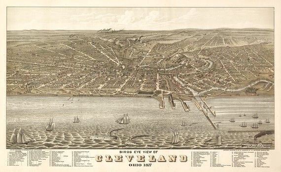 """1877 Historical map of Cleveland Ohio - Easy and Fast shipping for this holiday, Coupon code  """"FREEShipon2"""" https://www.etsy.com/listing/68508973/vintage-map-cleveland-ohio-1877 #Cleveland"""