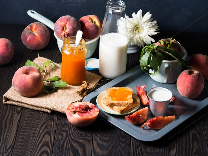 Summer breakfast with fruit and jam by Life Morning Photography on @creativemarket