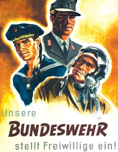 軍備。「ドイツ連邦軍に志願しよう!」(連邦軍は志願兵を採用しています。)Werbung für den Wehrdienst