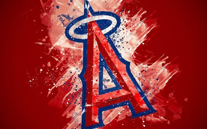 Download Wallpapers Los Angeles Angels 4k Grunge Art Logo American Baseball Club Mlb Re Los Angeles Angels Baseball Wallpaper Grunge Art