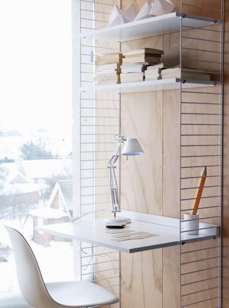 STRING desk + 2 shelves in white
