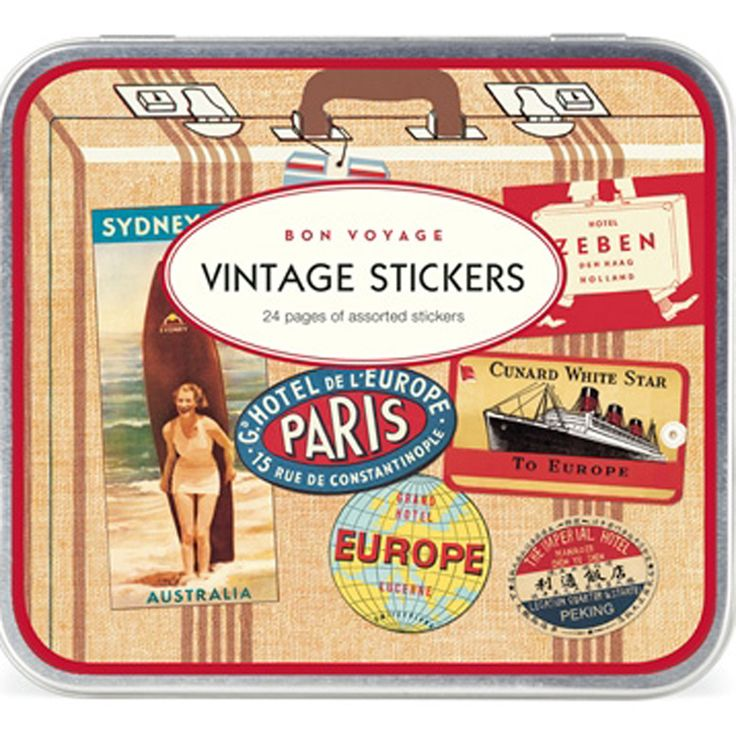 Cavallini  Bon Voyage  Vintage Style Travel Stickers 24 Sheets / Craft