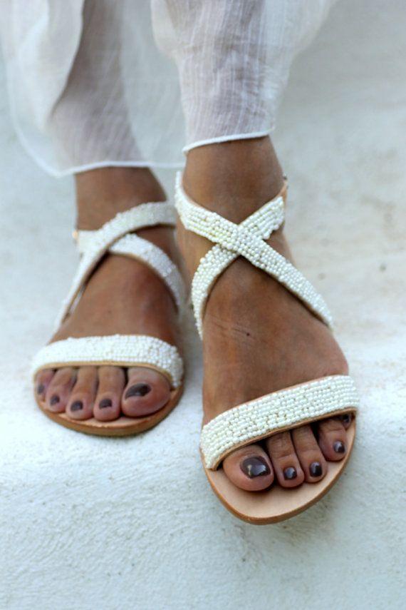 White bridal pearl leather sandals Naiad by ElinaLinardaki