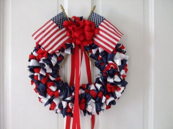 Red White and Blue Ribbon Wreath Patriotic 12 by bittersweetdesign, $76.00