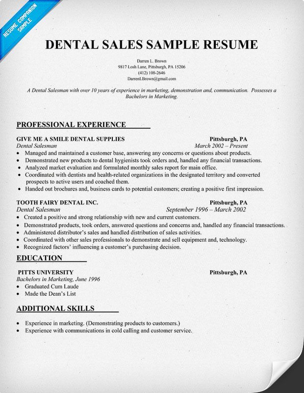 Dental Sales Resume Sample Dentist Health Resume