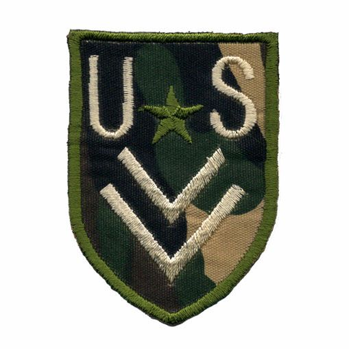 "Camouflage Shoulder Iron or sew on Patch with ""US"", Chevrons and Star embroidered on twill $3.99"