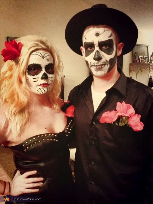Sugar Skull and Skeleton Couples Costume | Diy couples ...