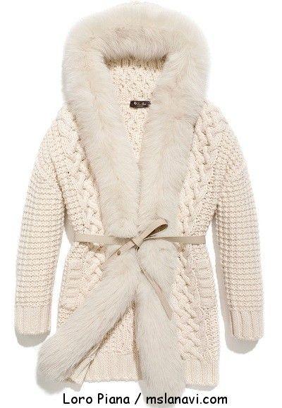 Вязаное женское пальто спицами от Loro Piana | Вяжем с Лана Ви