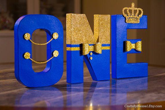 Letras azules y oro real Foto Prop centro de mesa 8