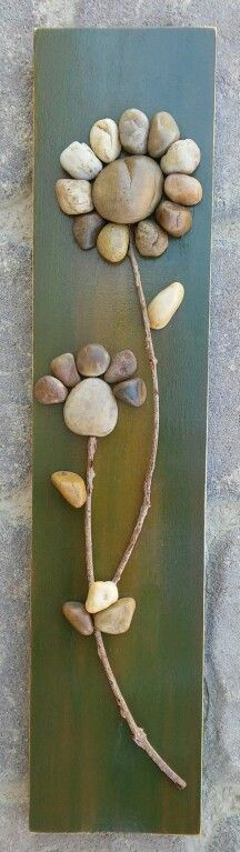 Pebble Art Flowers on a piece of scrap wood that was painted, sanded and sprayed with sealant....Easy little fun craft for all ages!  Also on ETSY in CRAWFORD BUNCH