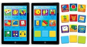 """Channel your inner techie with these two large tablet look-alikes that feature a job chart and a learning centers chart. Includes additional icons and blank buttons to personalize your charts. Excellent classroom management tools!    14 pieces:job chart(24""""x36""""), with 9 icons; learning center chart (24"""" x 36"""") with 9 icons; 9 additional job icons; 3 blank """"buttons"""" and an activity guide."""