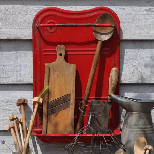 Red Tin Enamelled Vintage Kitchen Utensil Holder