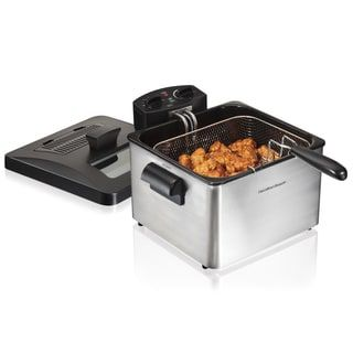 Hamilton Beach Stainless Steel 12 Cup Professional Style Deep Fryer with 3 Baskets