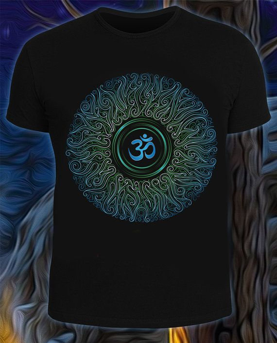 OM t-shirt psychedelic festival t-shirt Glow under by GloookWear