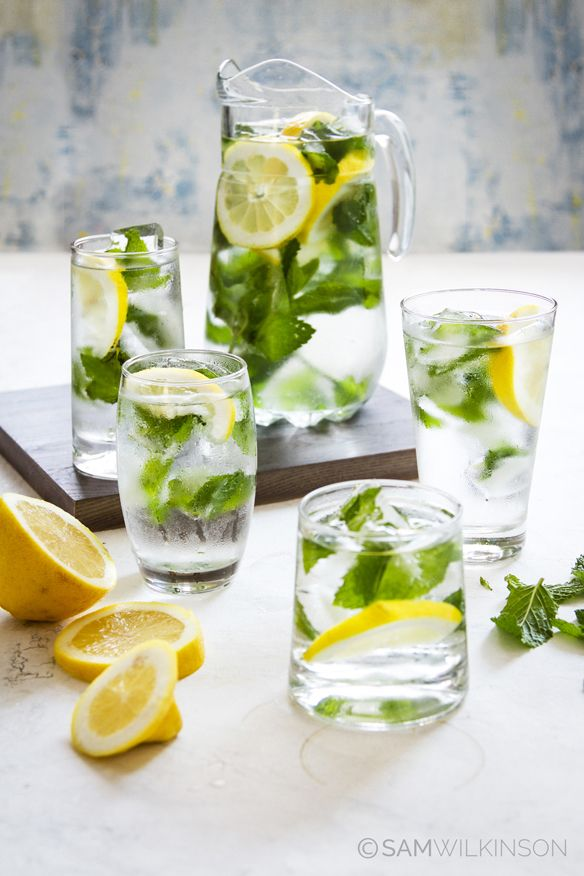 Food Photography  Mint and Lemon water