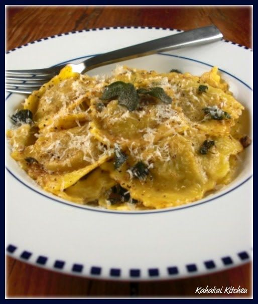 Kahakai Kitchen: Giada's Brown Butter Sauce with Mushroom Ravioli--Making it Simple!