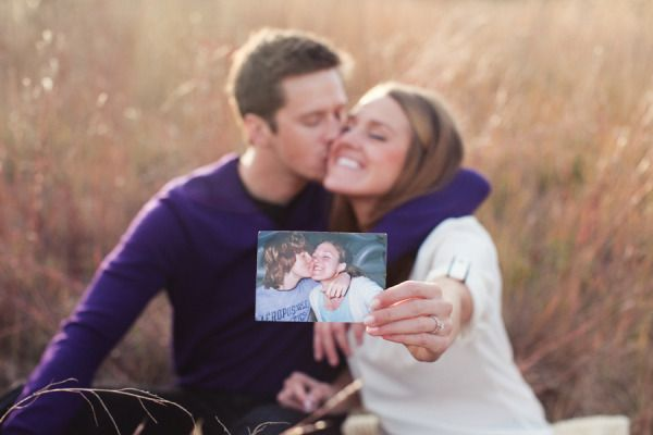 High school sweetheart engagement pic holding a pic from when you first started dating in HS.