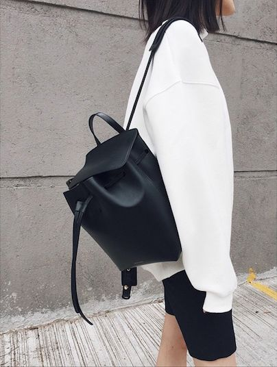 Minimalist | Black and White | Clean Lines | Leather Backpack | Street Style…