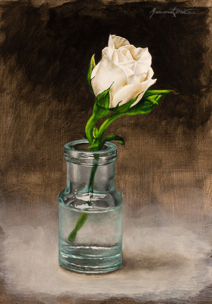 A still life painting of a tiny rose in a small antique bottle.