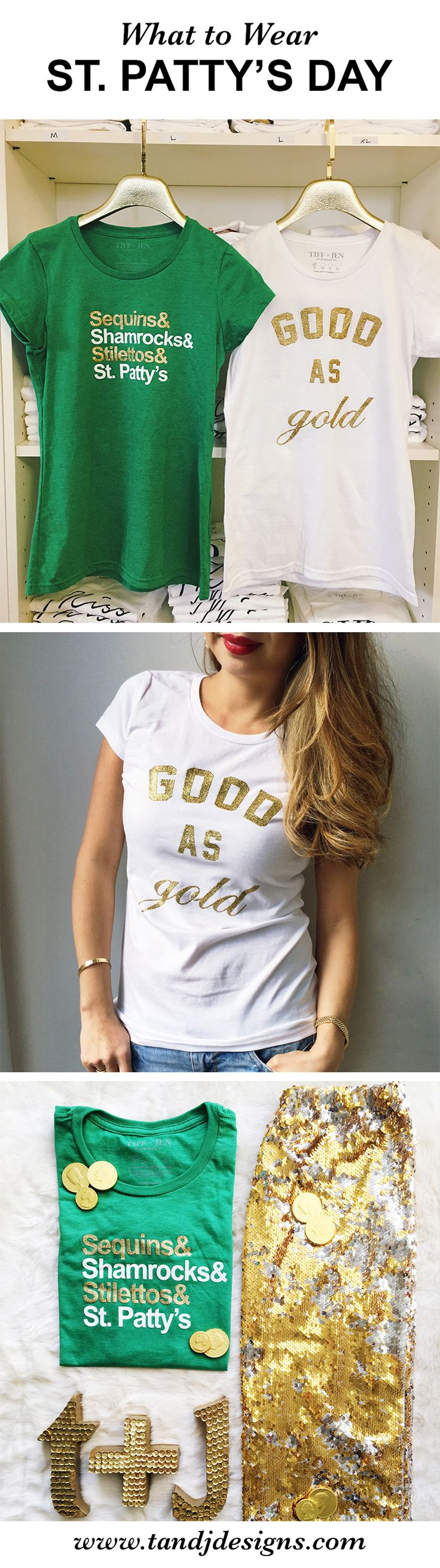 What to Wear on St. Patty's Day! Cute St Patty's Day t-shirts - perfect paired with denim or a gold sequin skirt for a festive and cute look