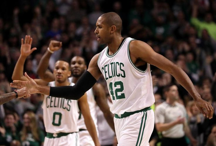 Boston, MA - 1/06/2017 - (4th quarter) Boston Celtics center Al Horford (42) is congratulated after he drained a 24 foot 3 pointer with 0:17 seconds left in the game that gave Boston a 107-106 lead late in the fourth quarter. Celtics vs. 76ers at TD Garden. - (Barry Chin/Globe Staff), Section: Sports, Reporter: Adam Himmelsbach, Topic: 07Celtics-76ers, LOID: 8.3.1194435771.