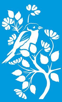 "13.5"" x 8.3"" (34cm x 21cm) Reusable Flexible Plastic Stencil for Graphical Design Airbrush Decorating Wall Furniture Fabric Decorations Drawing Drafting Template - Bird Tree Branch"
