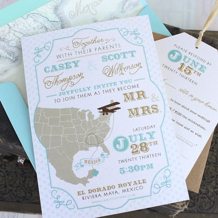 wedding invitations map%0A Travel Wedding Invitation
