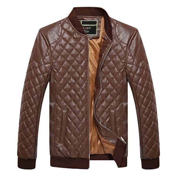 Diamond Lattice Faux Leather Jacket ($41) ❤ liked on Polyvore featuring men's fashion, men's clothing, men's outerwear, men's jackets, mens clothing, vintage mens clothing, men's apparel and vintage men's fashion