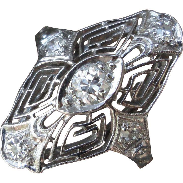 Art Deco Platinum Diamond Navette Ring 0.35 Carat Nice Filigree  Size 5 7/8