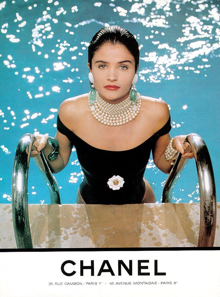 Fashion editorial | Helena Christensen for Chanel, by Karl Lagerfeld - 1990. | #fashion #chanel