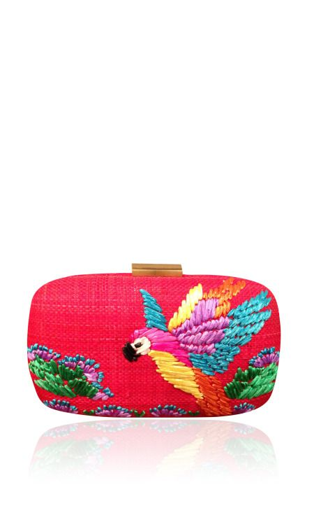 Red Macaw Minaudiere In Straw by Serpui Marie for Preorder on Moda Operandi