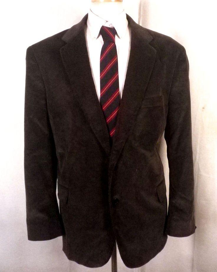 euc Stafford brown 100% Cotton Corduroy Blazer Sportcoat big man 48 R #Stafford #TwoButton