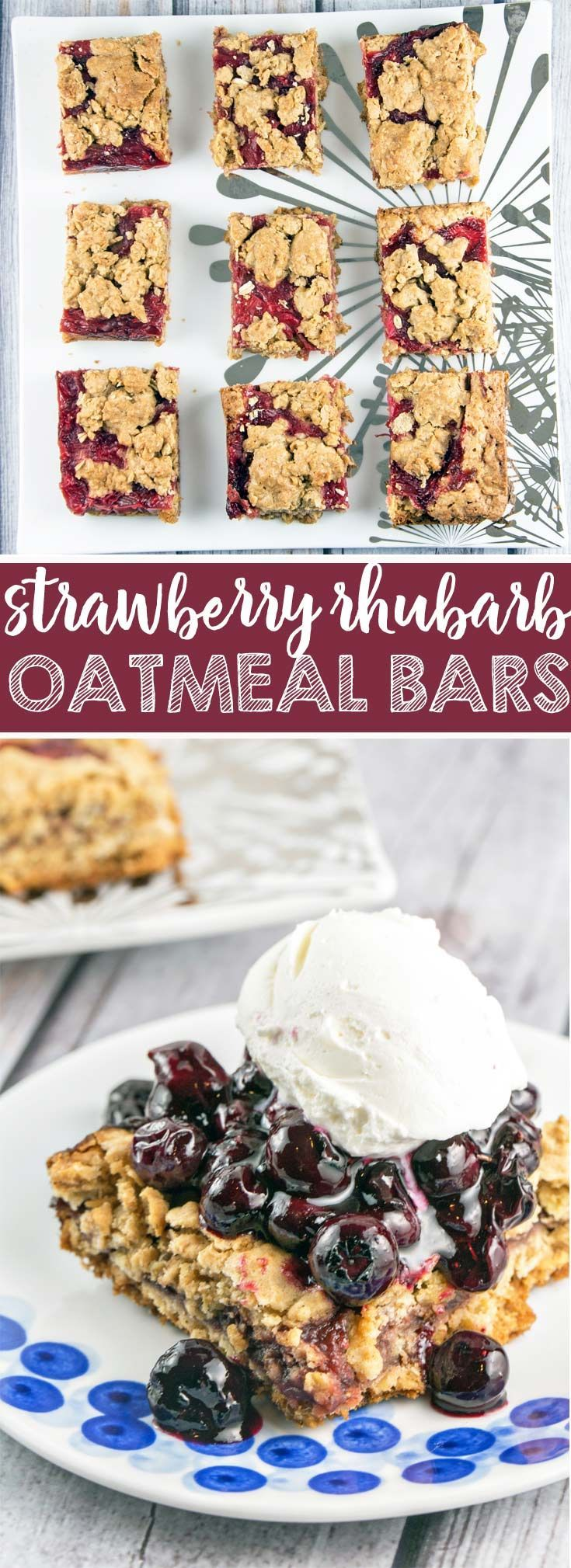 Strawberry Rhubarb Oatmeal Bars: It's rhubarb season - try these strawberry rhubarb oatmeal bars with a crunchy oatmeal cookie crust and a thick layer of fruit compote. Easier than a pie, but just as delicious! {Bunsen Burner Bakery} via @bnsnbrnrbakery