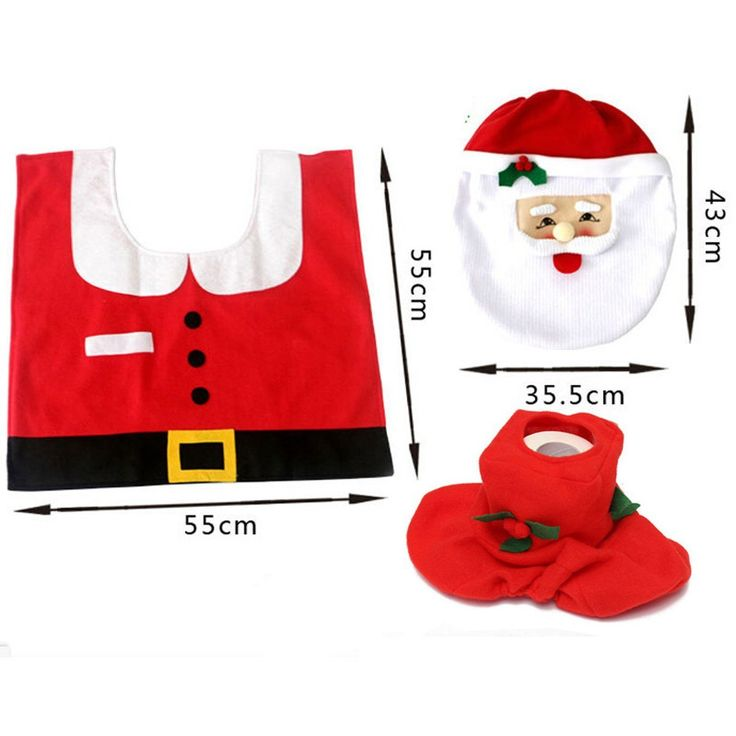 Amazon.com: Genluna Christmas Decorations Santa Toilet Seat Cover and Rug Set One Size Red: Toys & Games