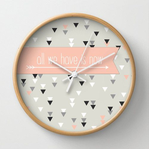 Triangle geometric wall clock home decor by MonochromeStudio