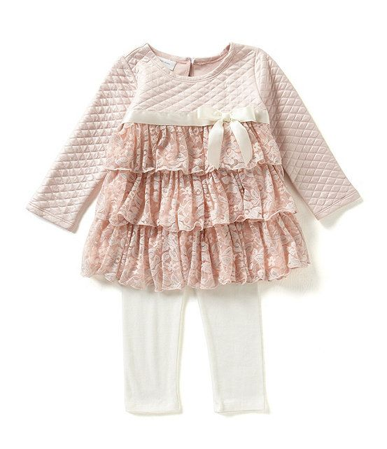 Bonnie Jean 2T-4T Foil Quilted to Metallic Lace Tiered Dress & Leggings Set