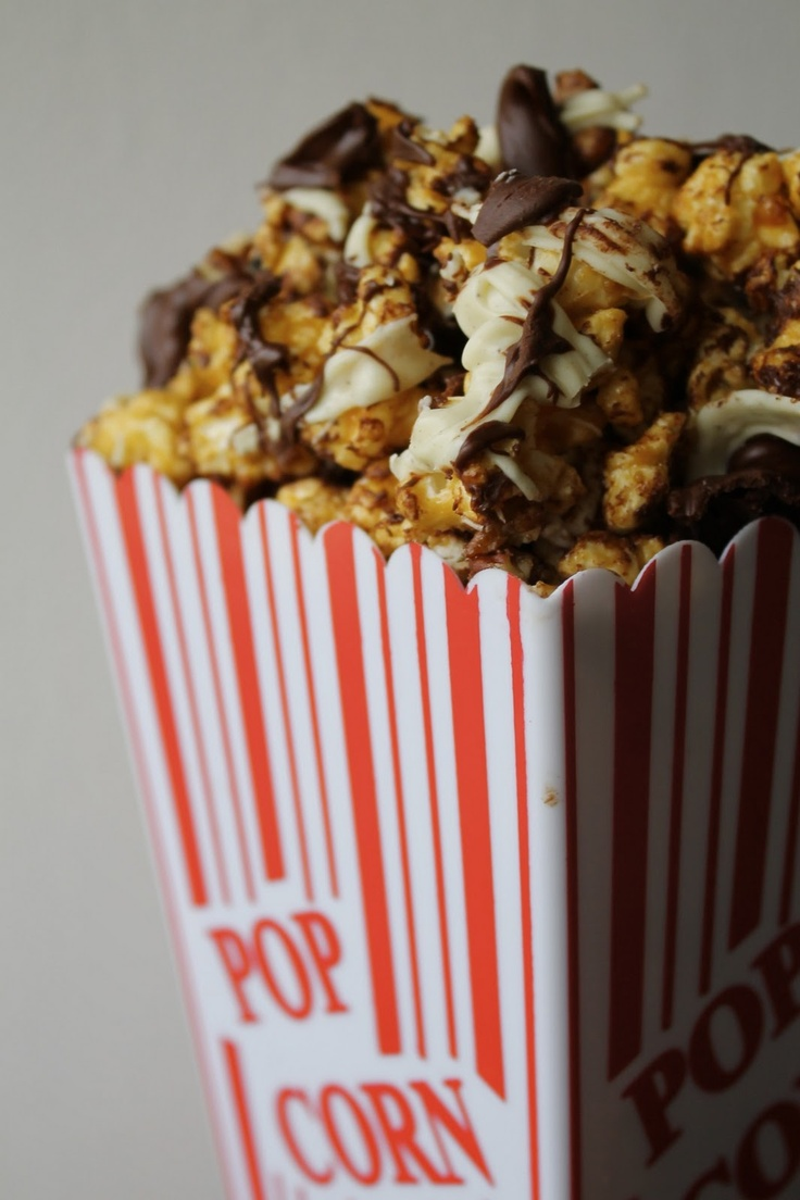 Microwave Caramel Corn with White and Dark Chocolate and Pecans