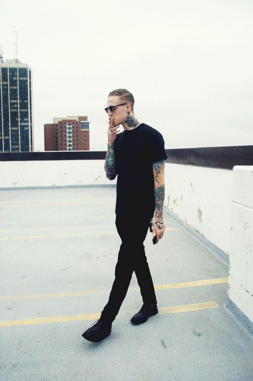 all black clothes and tattoos. yes