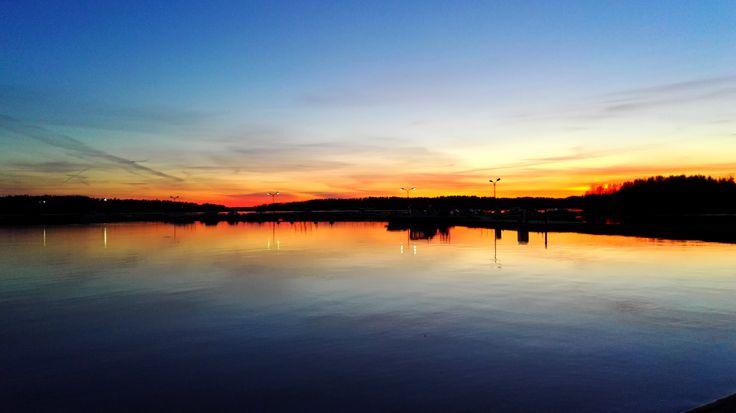 Sunset at lake Aurlahti.