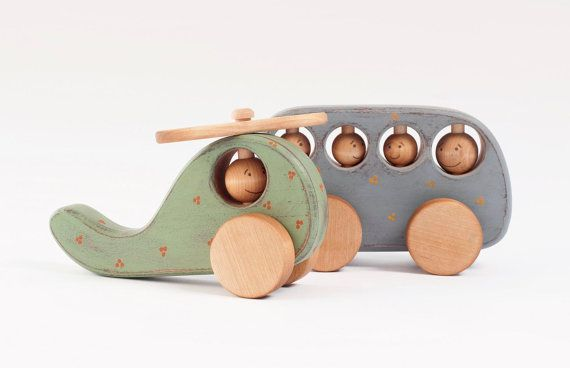 Wooden Toy set, rustic kid toys Bus and Helicopter. friendly toys, etsy