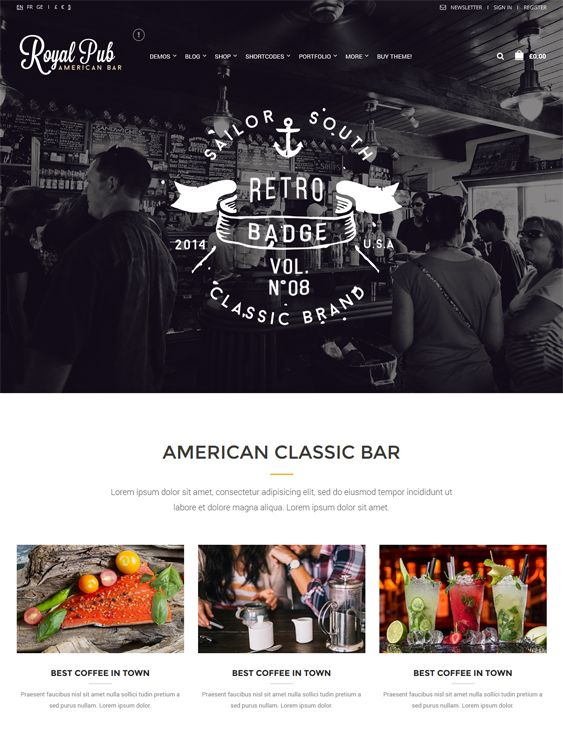This restaurant theme for WordPress comes with a drag and drop page builder, a responsive design, custom widgets, WooCommerce support, an advanced grid system, lots of shortcodes, CSS3 and HTML5 code, and more.