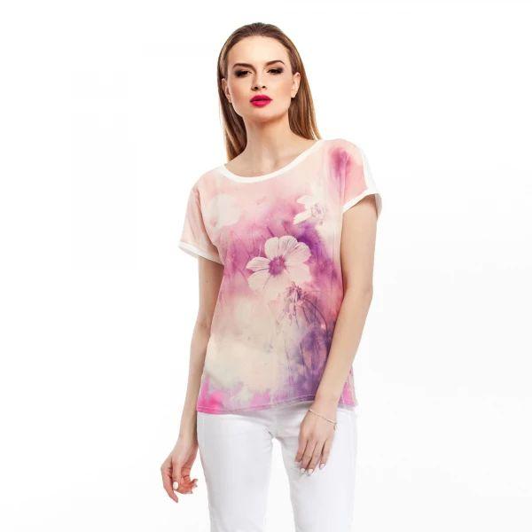 Projekt kwiatowy w kolorystyce pastelowej z dodatkiem akcentów z tonacji różów i fioletów. Dostępna była również bliźniacza wersja w chłodniejszej kolorystyce. Sezon wiosna/lato.