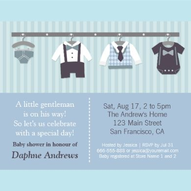 There is something just so cute about mini baby clothes and accessories! So announce the arrival of the little gentleman with this invitation which comes with baby clothes hanging from the walls which include baby diaper, smarty bow tie and braces shirt and shorts, a diamond pattern vest and navy blue tie and a baby creeper with fake bow tie and braces. Blue stripes pattern for the background. Personalise easily with your party details.